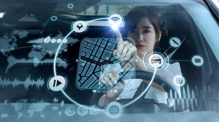 futuristic vehicle and graphical user interface(GUI). intelligent car. connected car. Internet of Things. Heads up display(HUD).